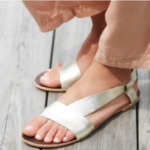 Free People Gold Leather Sandals Size 7